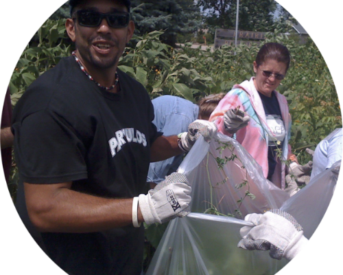 People bagging invasive species